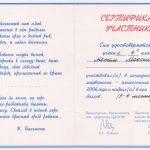 """2006. Сертификат участника конкурса """"Русский медвежонок - языкознание для всех"""""""