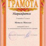 2008. 1 место в гимназическом Ломоносовском турнире